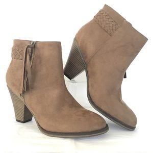 Heel Ankle Bootie Tan Suede Sz 10 Fringe Shoe New